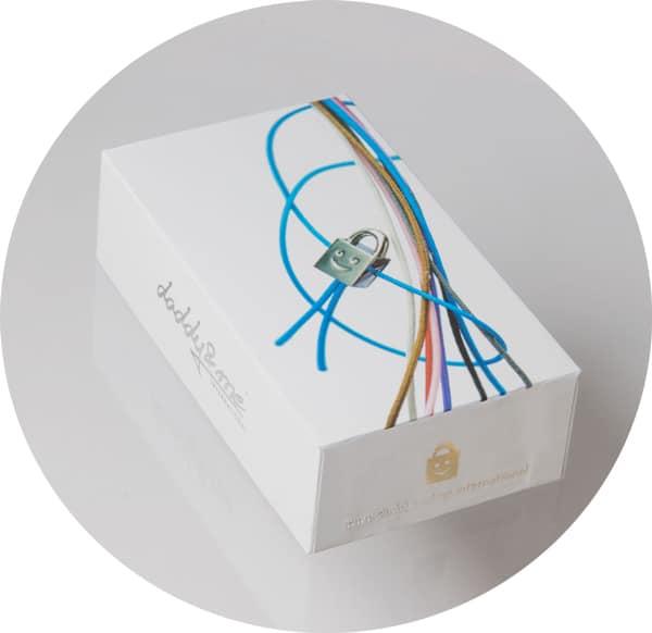 Eine Schachtel mit einem Schloss Armbandanhänger